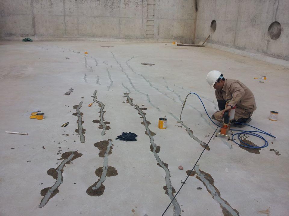 sửa chữa vết nứt sàn bê tông